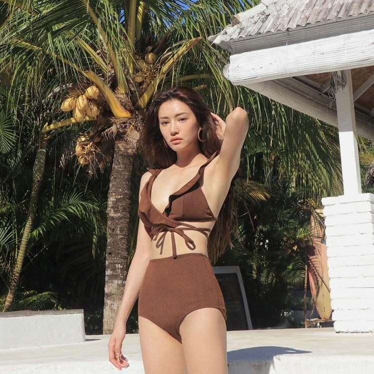 Bộ bơi bikini 2 mảnh nâu dây vai bèo quần cạp cao – GracesSweet