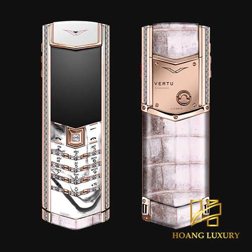 Vertu cũ Signature S ROSE GOLD PAVE DIAMONDS ALBINO ALLIGATOR