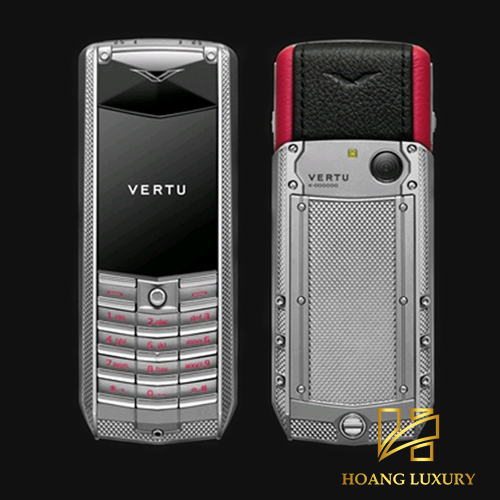 Vertu Acsent Knurled titanium, black and red leather