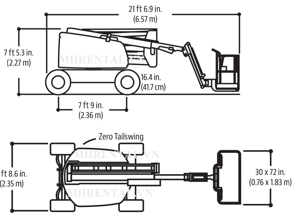 thông số xe nâng người dạng khớp gập boom lift 16m làm việc JLG 450AJ