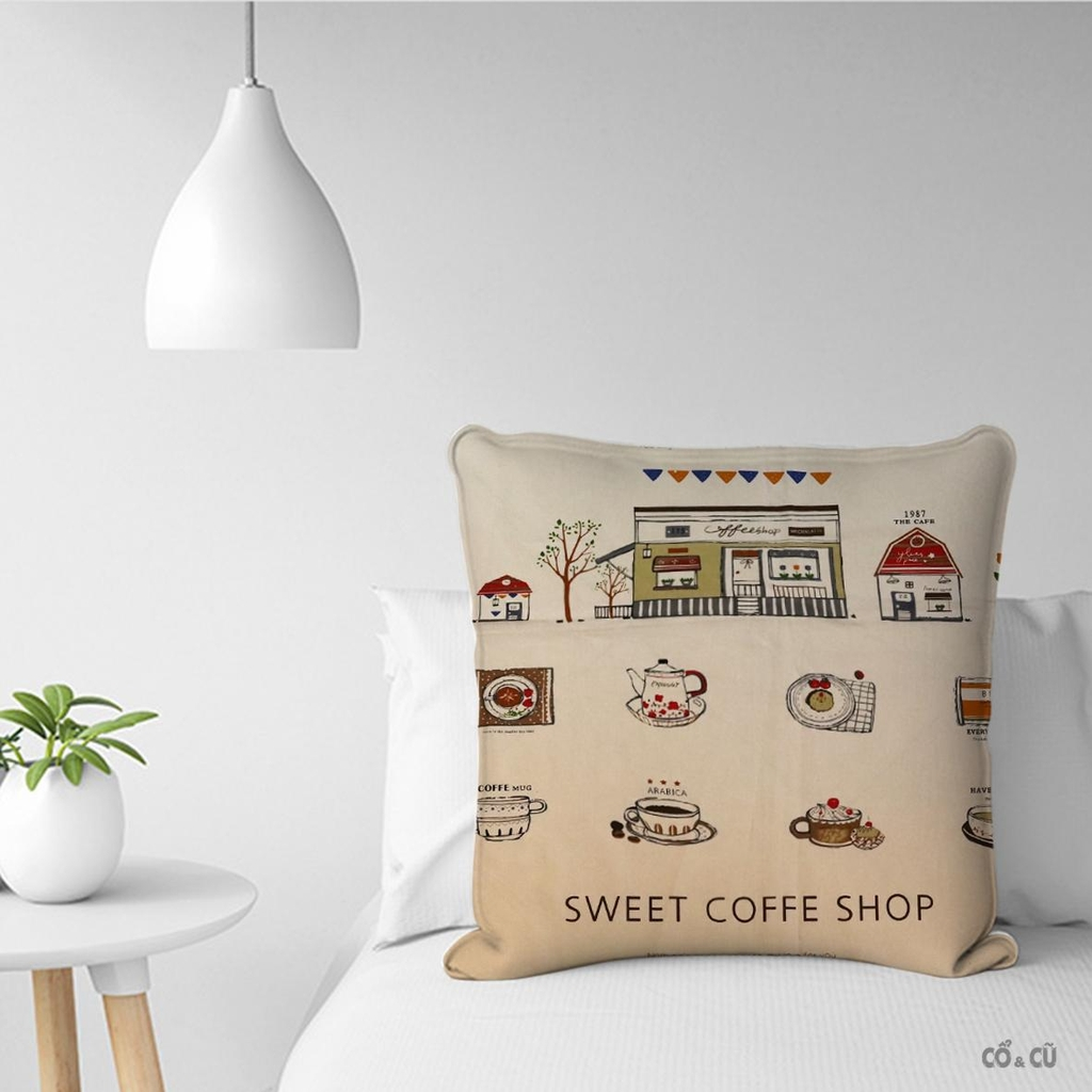 Vỏ Gối Vải Canvas Sweet Coffee Shop