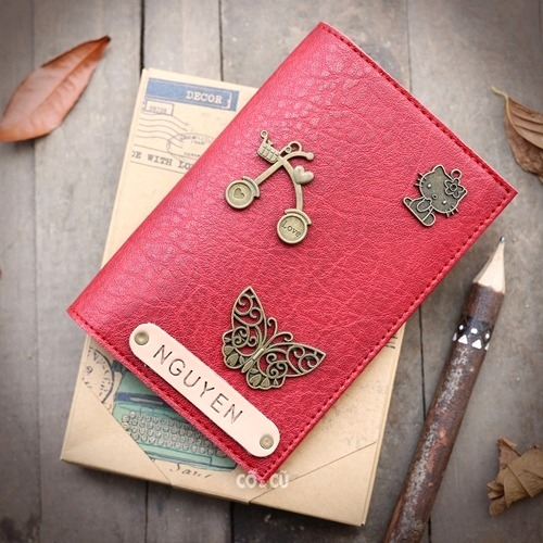 Passport case đỏ retro #16