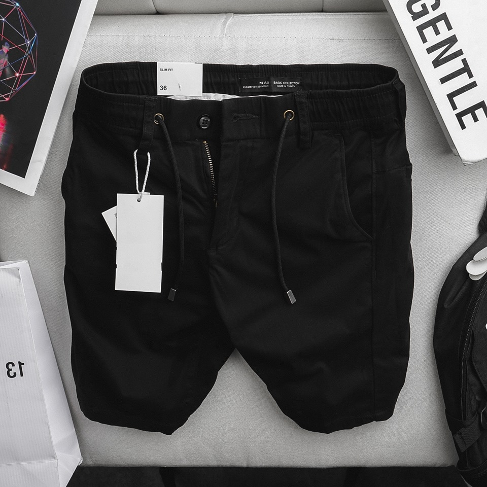 Quần short Zara Pull-on Black Chino