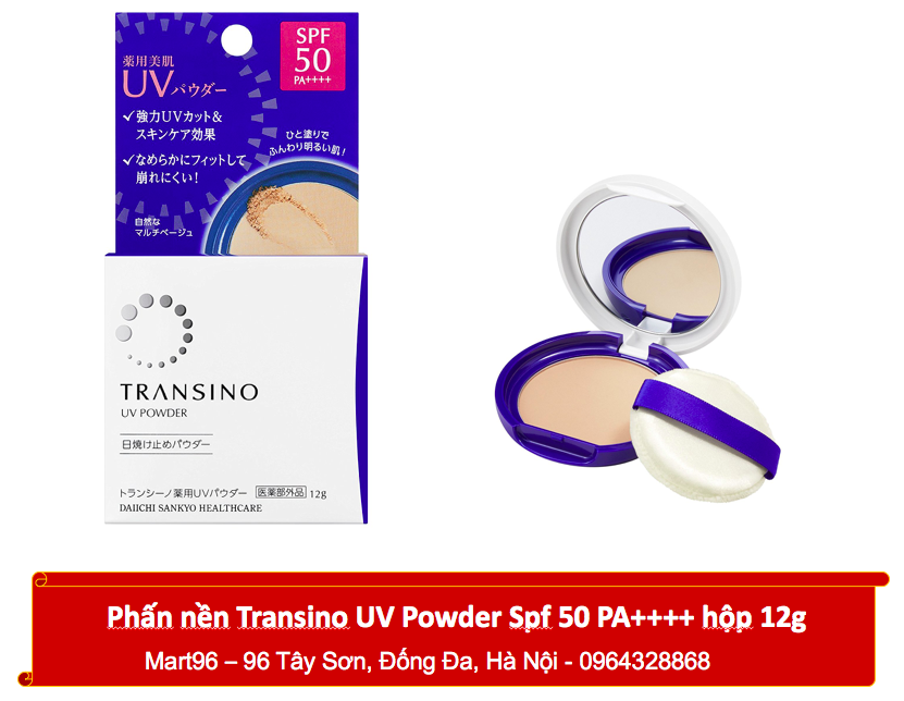 Phấn nền Transino Power UV SPF 50++++ 12g