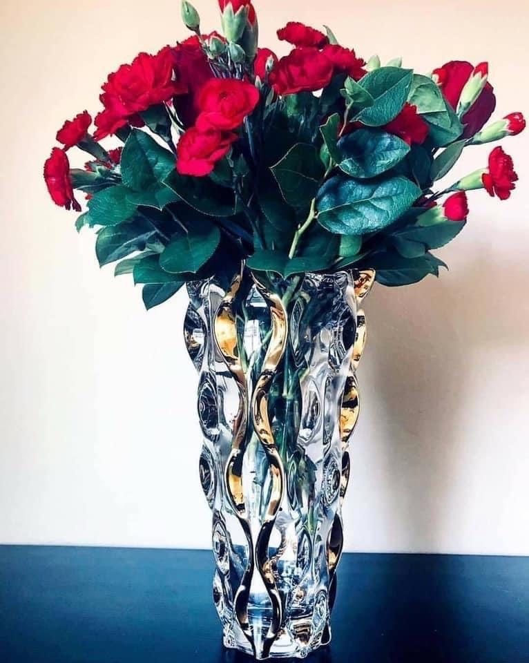 ♥️ lọ hoa Pha lê Bohemia Samba Amber 30,5cm Hàng xách tay Thủy Nguyên