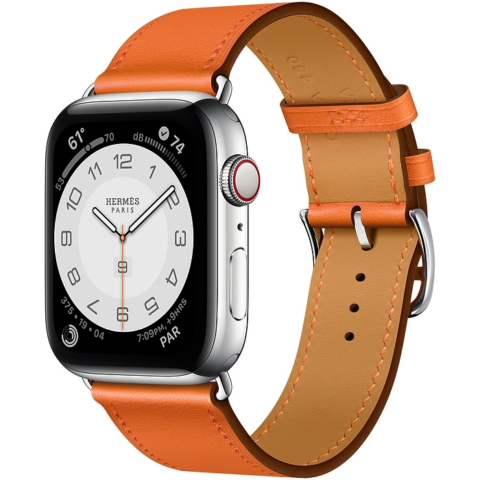 Apple Watch Series 6 Hermès Silver Stainless Steel Case with Orange Swift Leather Single Tour