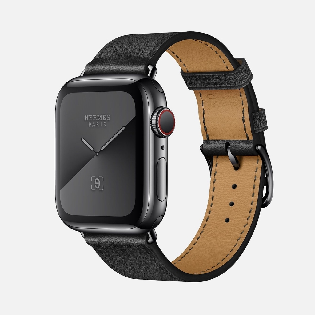 Apple Watch Hermès Series 5, Space Black Stainless Steel with Noir Swift Leather Single Tour ( Likenew )