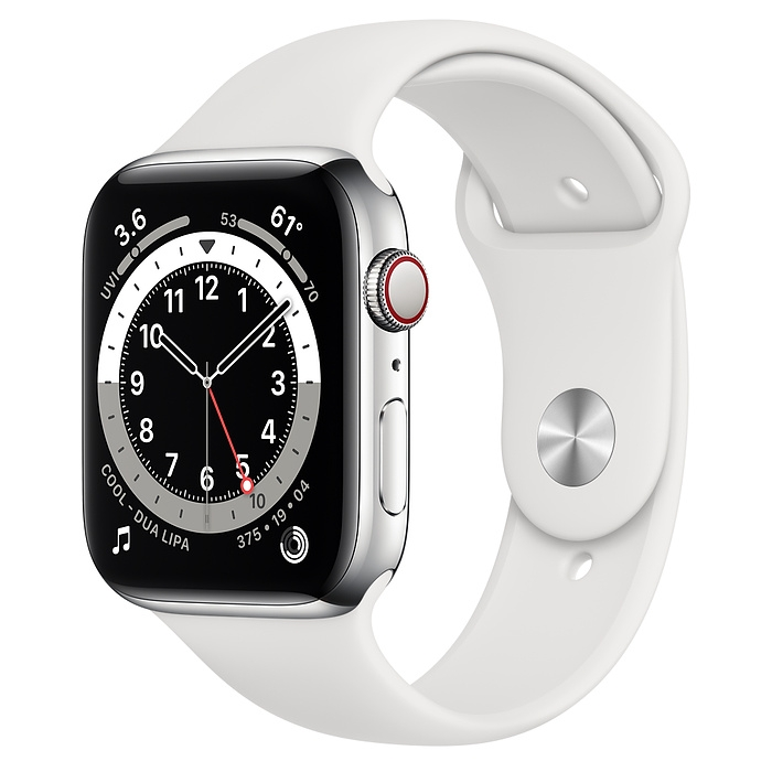 Apple Watch Series 6 Silver Stainless Steel Case with Sport Band New Seal