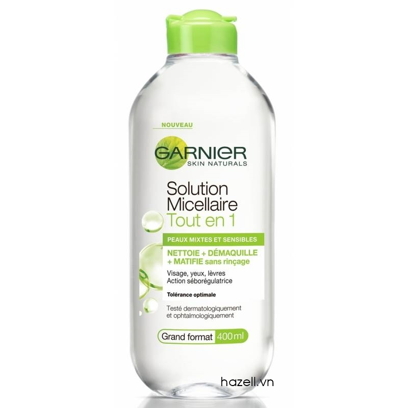 Tẩy trang Garnier Skin Active Solution Micellaire Tout en 1 - 400ml ( Xanh lá)