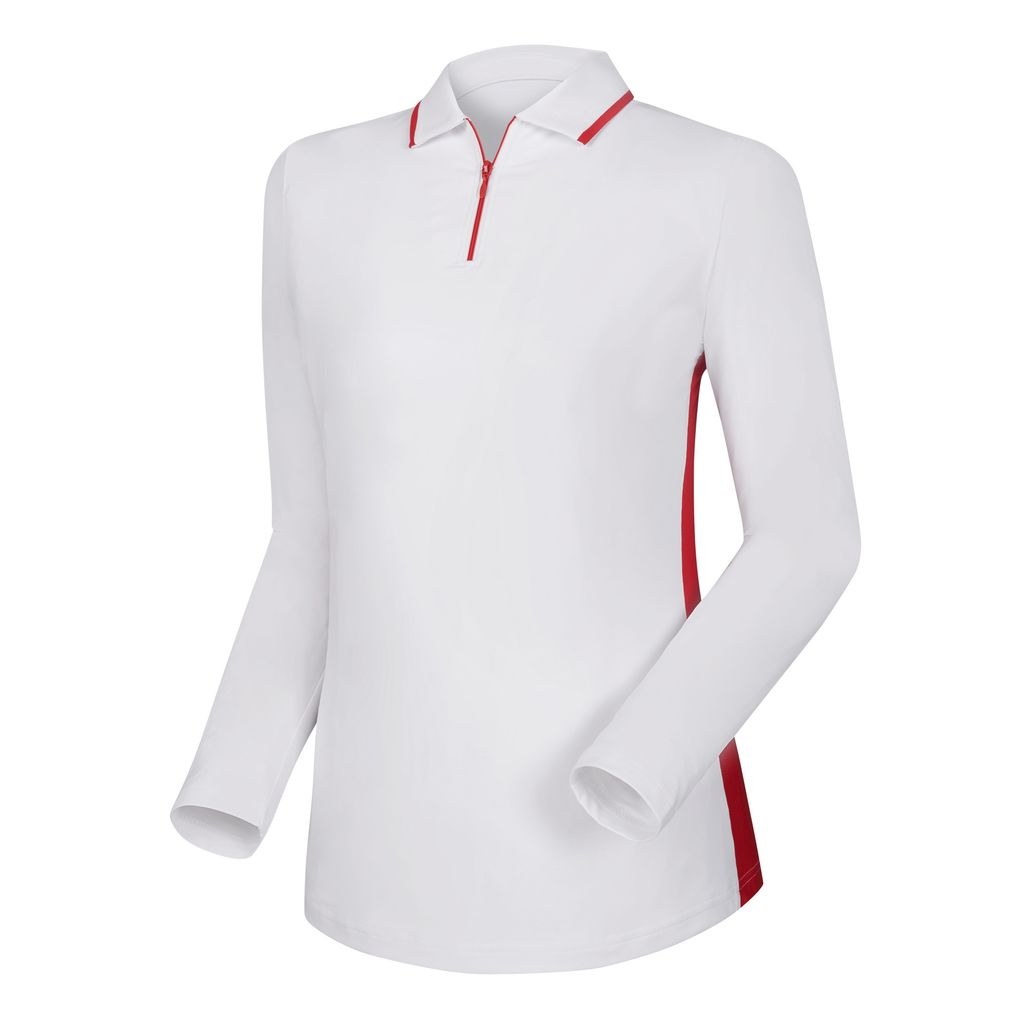 Áo Golf Nữ  FJ Half Zip Placket Sun Protection Shirt with Mesh Side Panels White w. Red 95243 (A130)