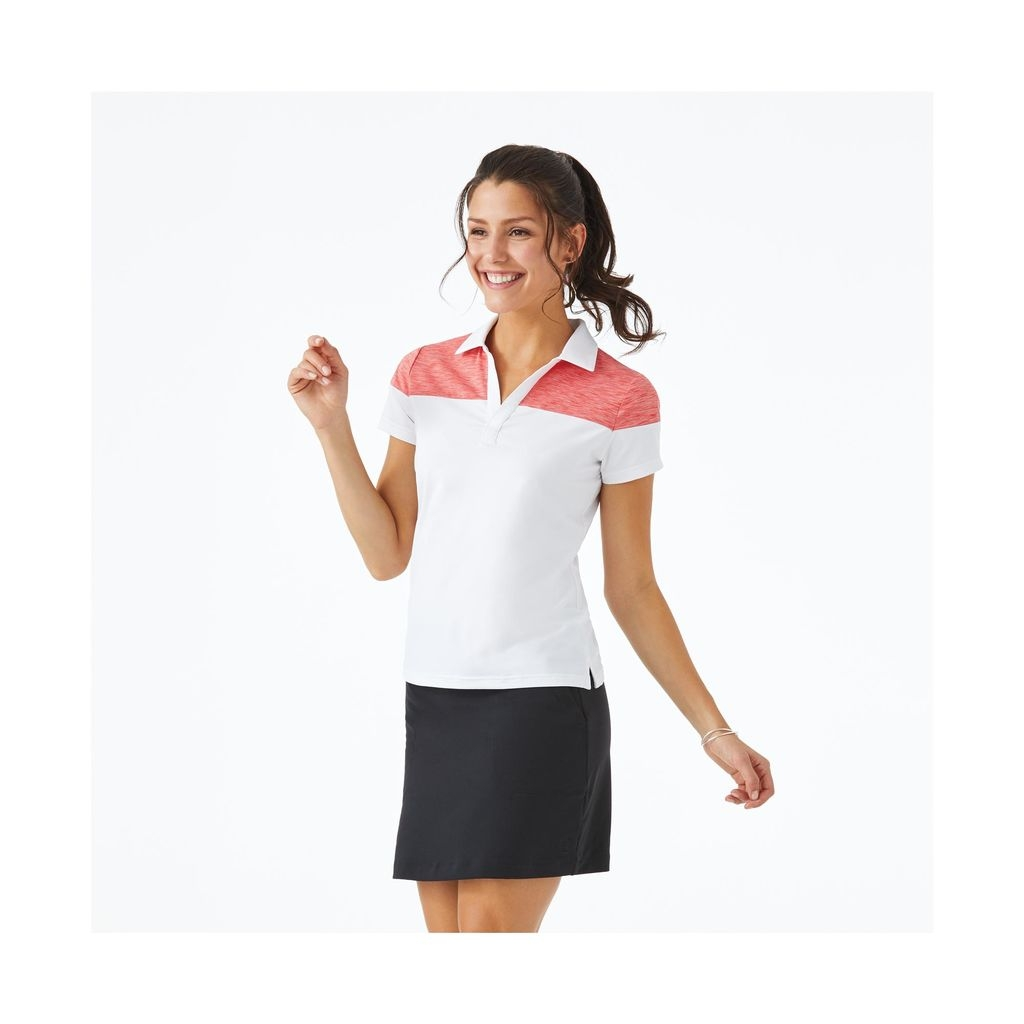 Áo golf nữ FJ Lisle V-Neck Short Sleeve Shirt with Pieced Top White w.Red Space Dye 95246 (A133)