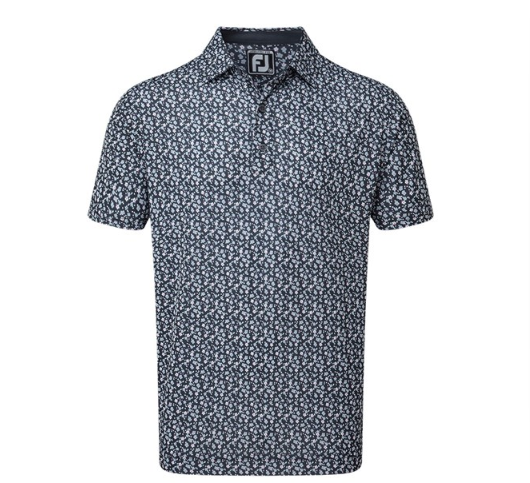 FJ Lisle Flower Print Collar Navy 86506 (A861)|Linking Golf