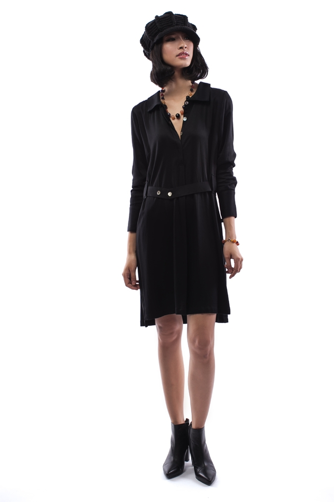 Farah Shirt Dress/ Black