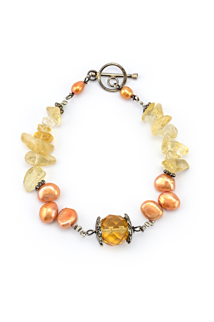 Orange Pearl & Citrine Bracelet