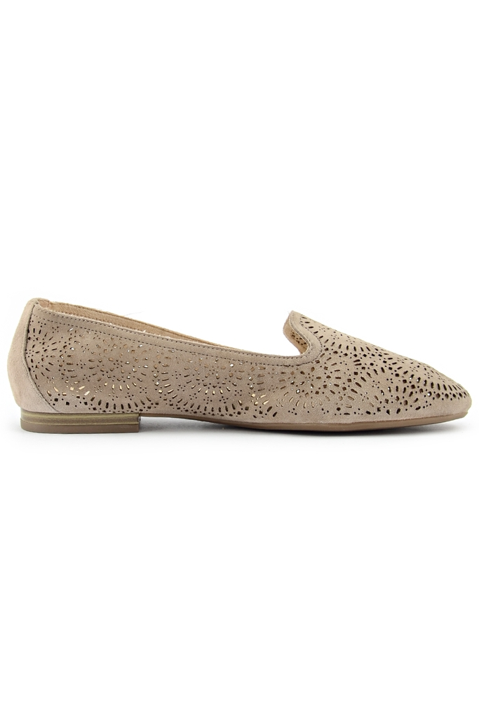 CAPRICE Trimmed Leather Loafers/ Grey
