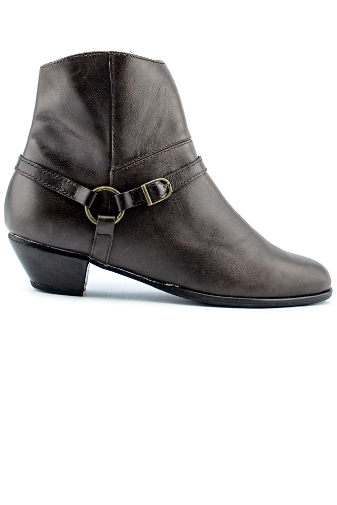 CLELO Leather 4cm-heeled Boots/ Hickory