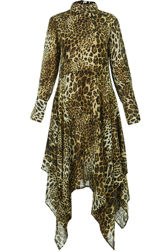 Đầm sơ mi Petra Asymmetric Midi Dress/ Animal Print
