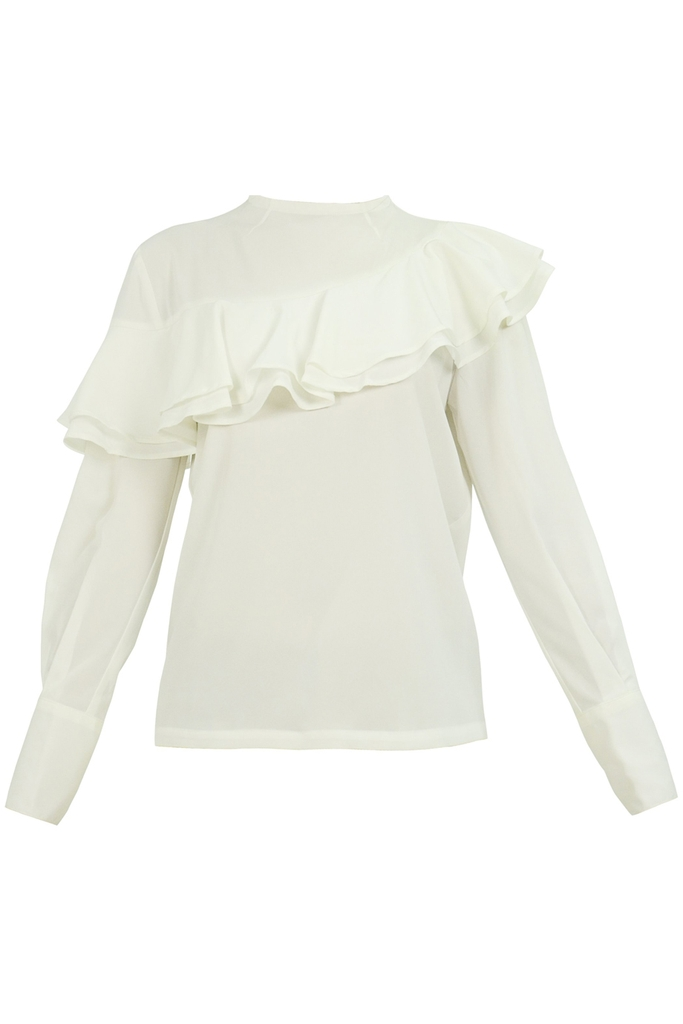 Áo sơ mi Deja Ruffled High-neck Blouse/ White 2286