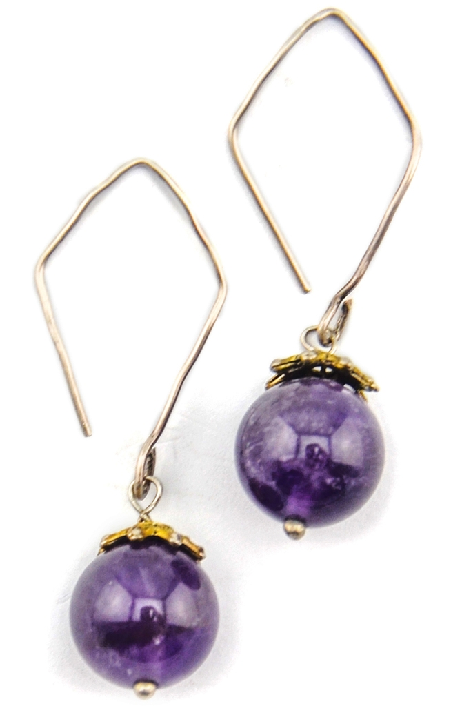 Bông tai Grape Yard Amethyst & Silver Earings