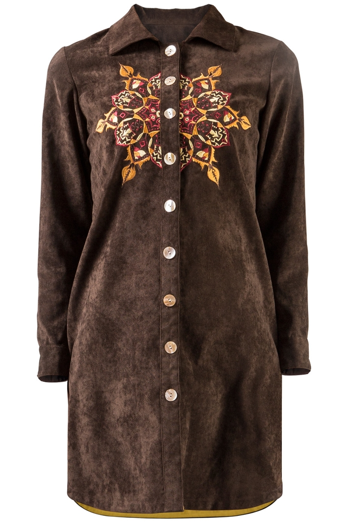 Đầm sơ mi Gaia Embroidered Shirtdress/ Fire