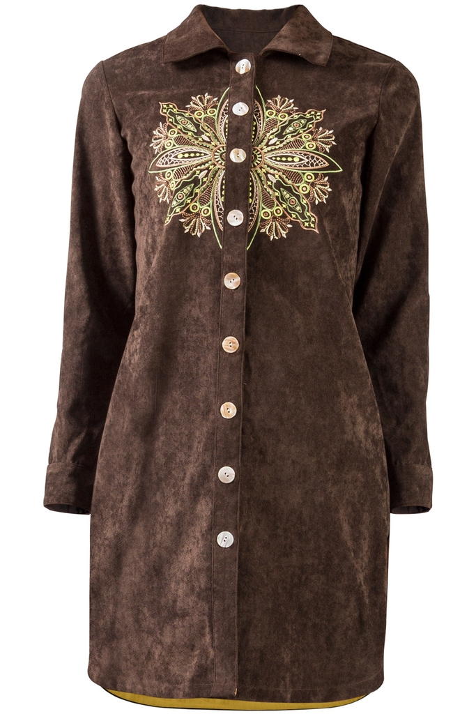 Đầm sơ mi Gaia Embroidered Shirtdress/ Tree