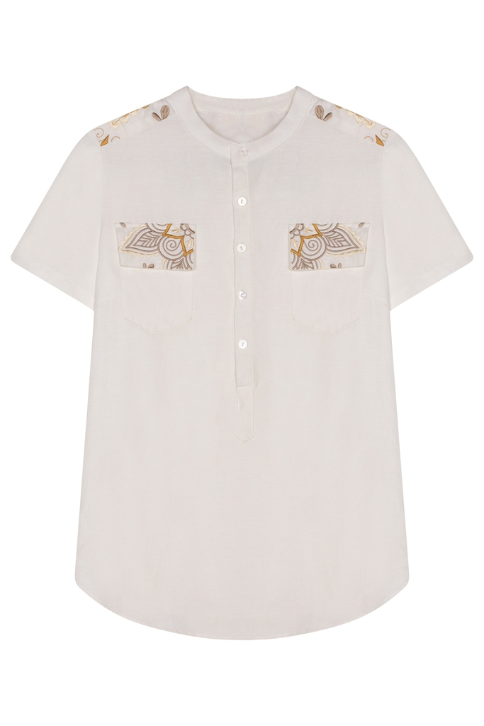 Michelle Embroidered Linen Shirt/ White