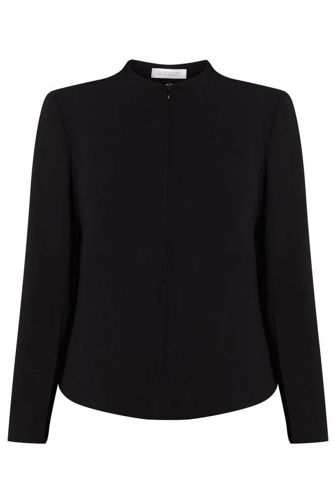 Sienna High-neck Suit Crop Top/ Black 2143