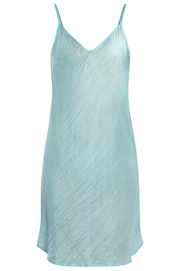 Đầm lụa tơ tằm 100% V-neck Silk Bias Cut Slip Dress/ Turquoise