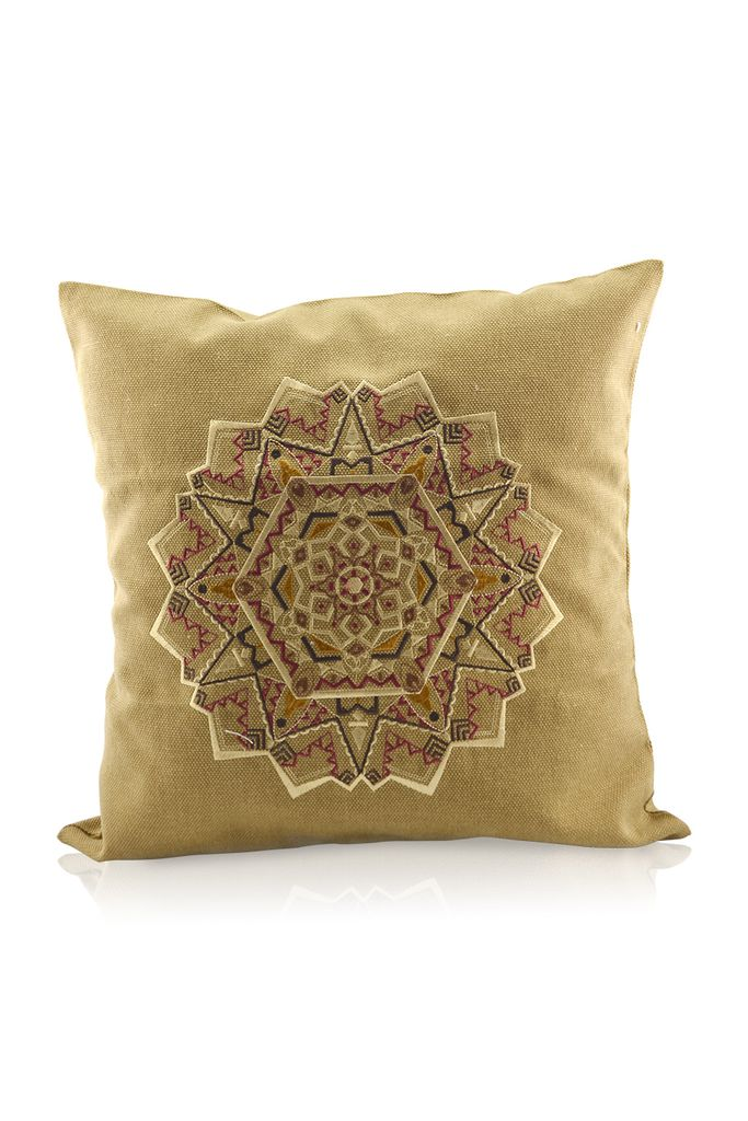 Gối canvas thêu nhồi bông gạo- Earth Mandala Embroidered Pillow Case 48x48/ Sand