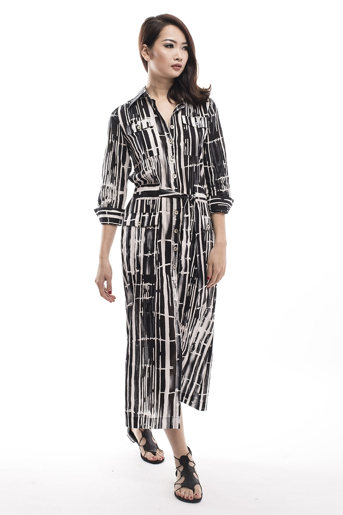 Bamboo Long-sleeved Maxi Dress/ BW