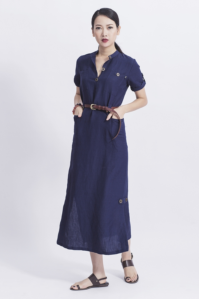 Đầm Tobago Maxi Shirt Dress/ Navy