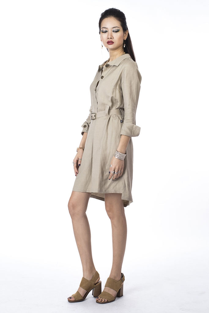 Sarah Linen Shirt Dress/ Hazel Wood