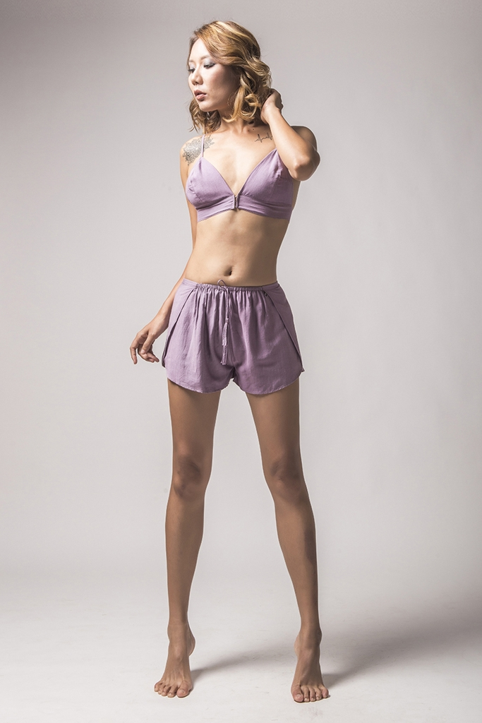 Iris Silk Bra Top/ Pale Aubergine