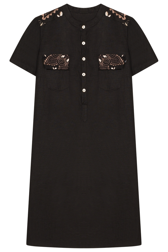 Michelle Embroidered Linen Tunic/ Black