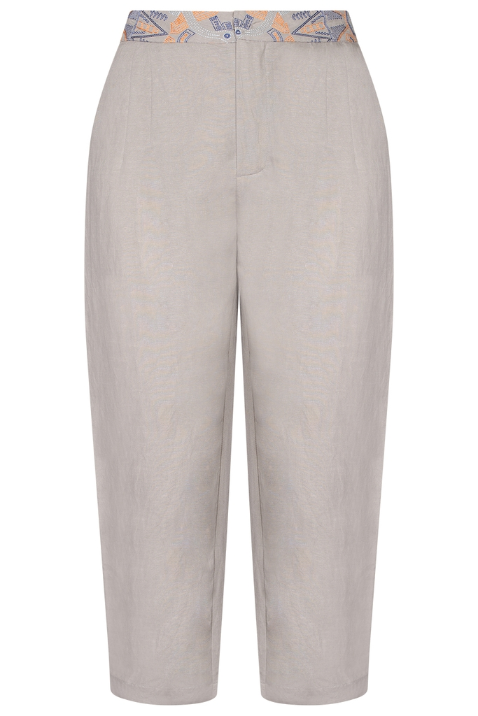 Michelle Linen Capri Pants/ Clay