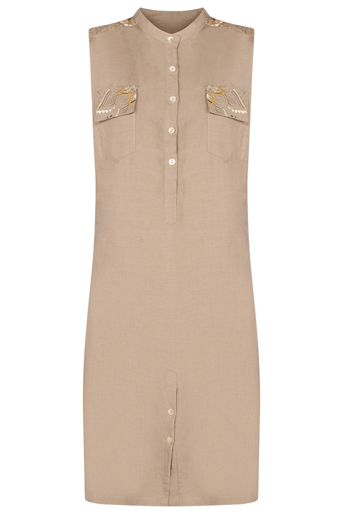 Michelle Embroidered Short Shirt Dress/ Beige