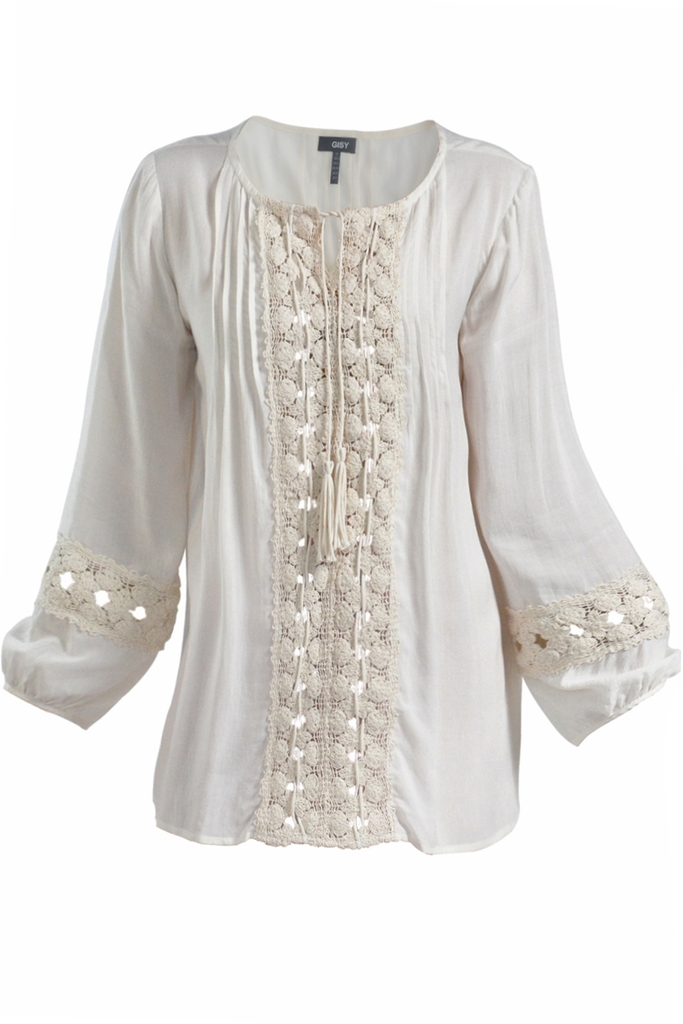 Lacey Lace Trim Blouse/ Cream White