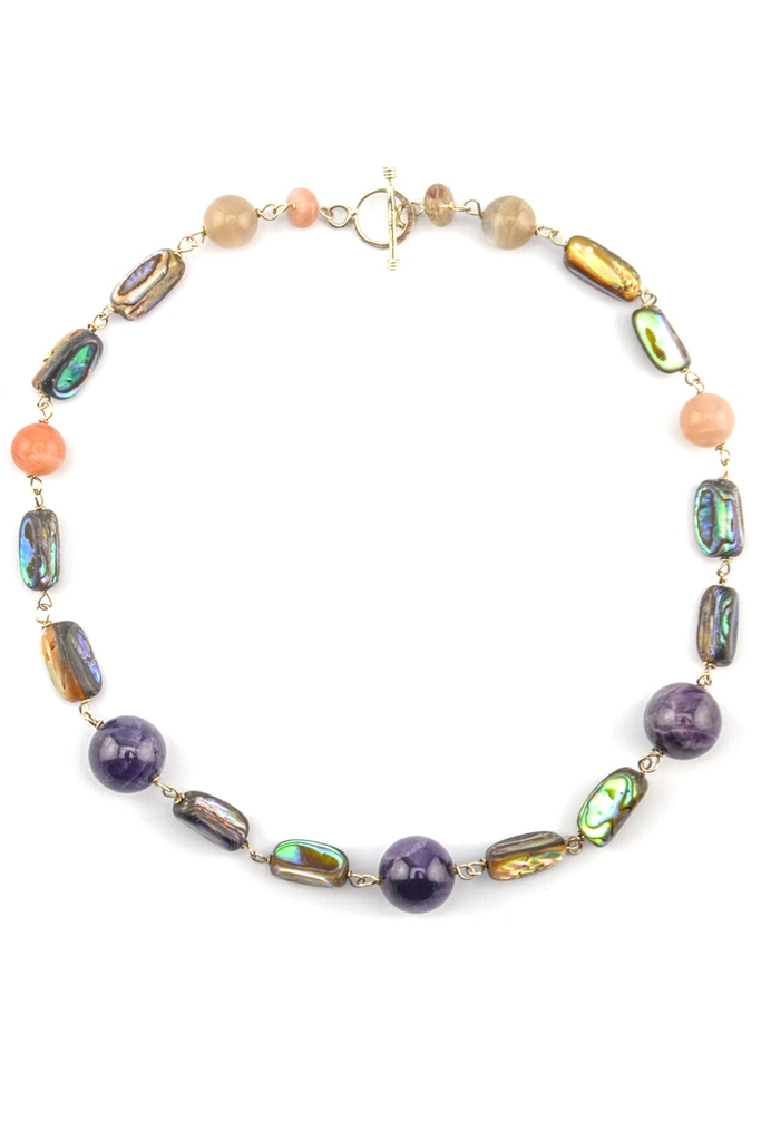 Vòng cổ Asha Amethyst Moon Shell Necklace