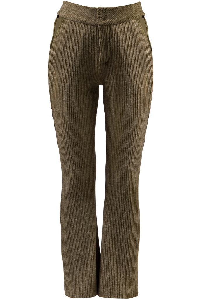 Quần len ống vẩy Ferne Canvas & Wool Suit Pants/ Moss Green