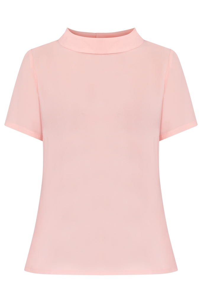 Mia Wide Collar Blouse/ Salmon