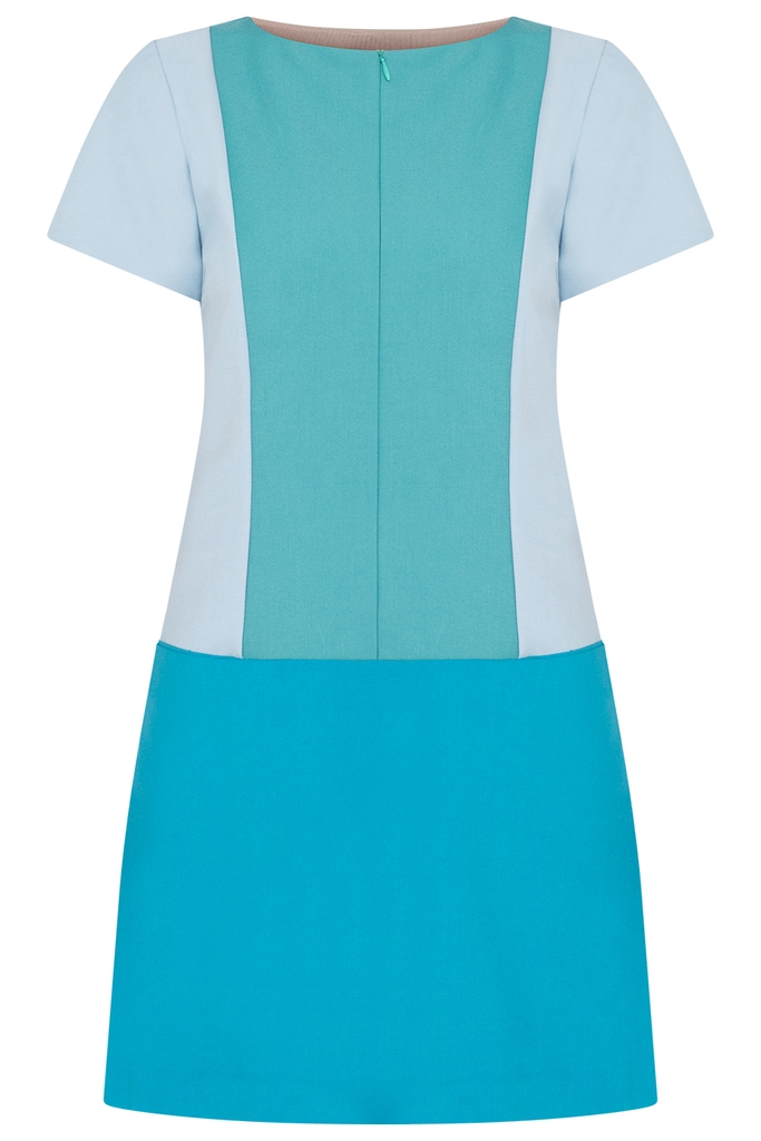 Coco Color-block Shift Dress/ Blue tone