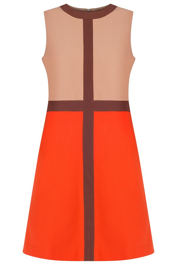 Lori A-line Dress/ Orange-Beige-Brown