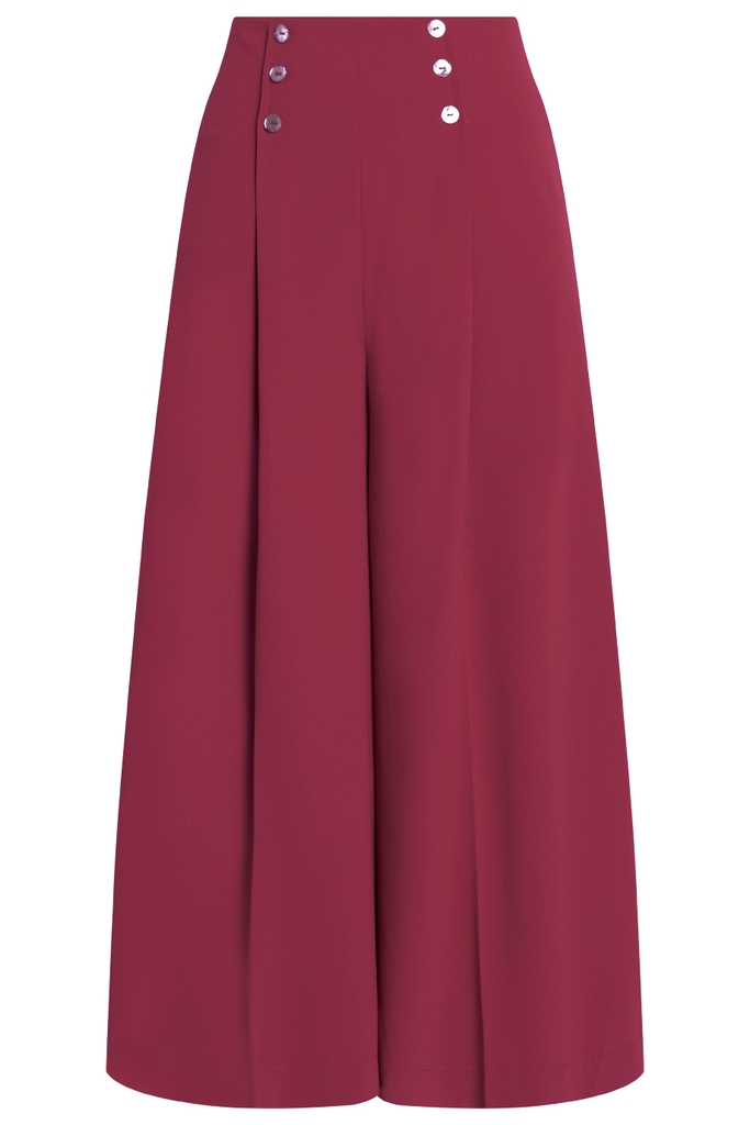 Sienna Ankle Palazzo Pants/ Burgundy
