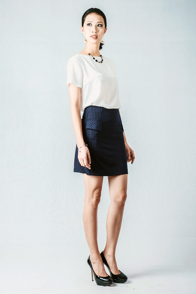 Jackie A-line Skirt/ Navy Block