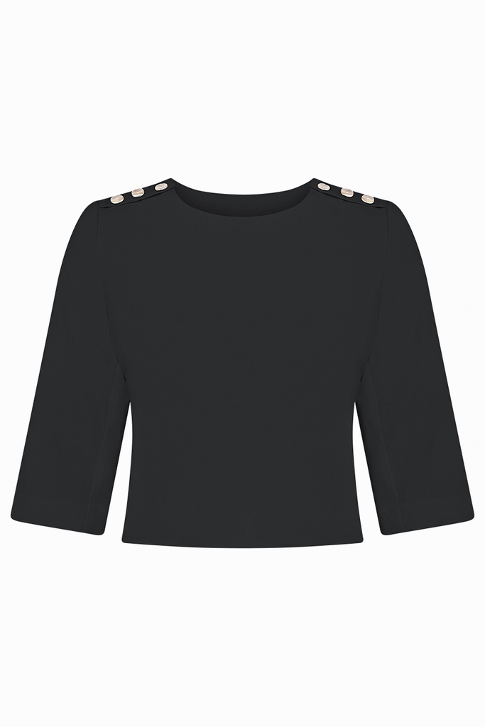 Grace 3/4 Sleeves Crop Top/ Black