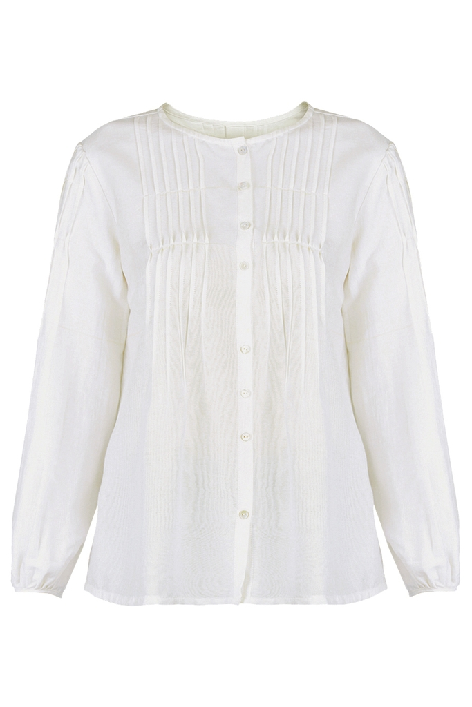 Áo sơ mi Silk Pleated Puff-sleeves Button-up Blouse/ White