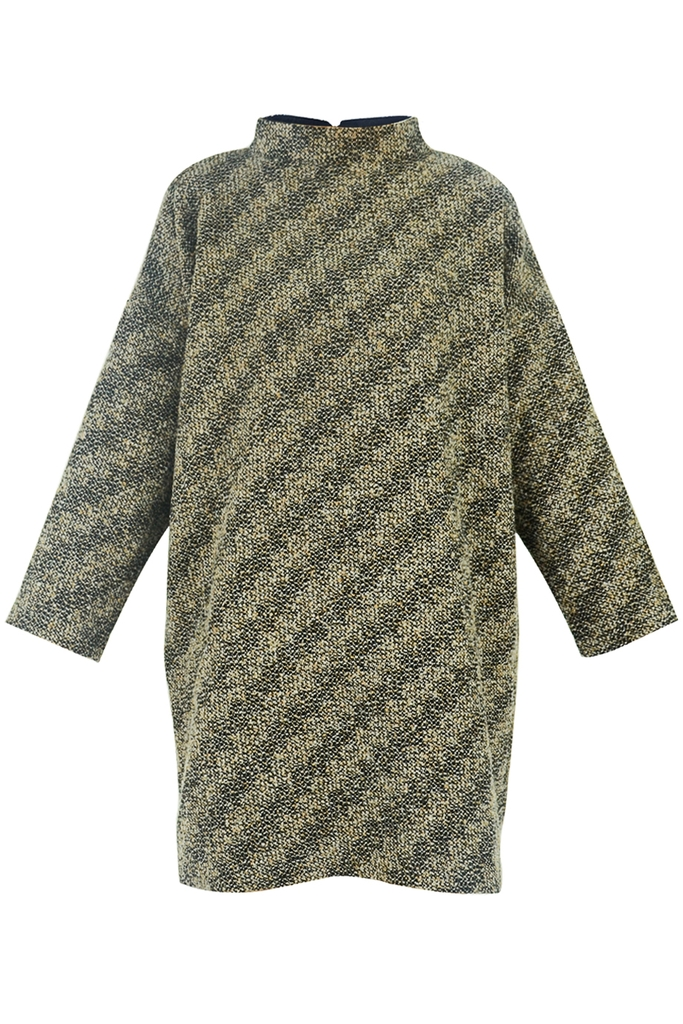 Đầm mini Yves Tweed Oversized Tunic Pullover/ Brown Stripe 2240