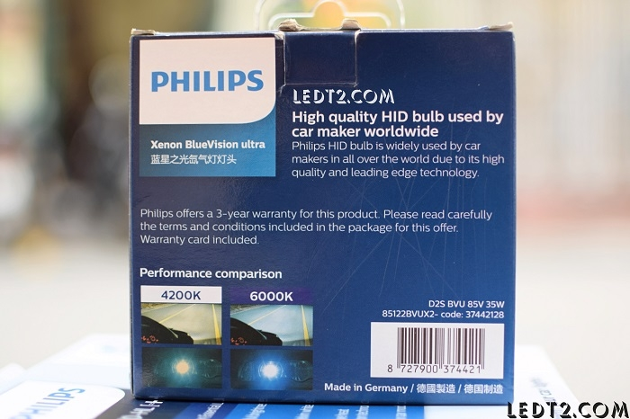 HID Xenon Philips BlueVision Ultra 6000K D2S