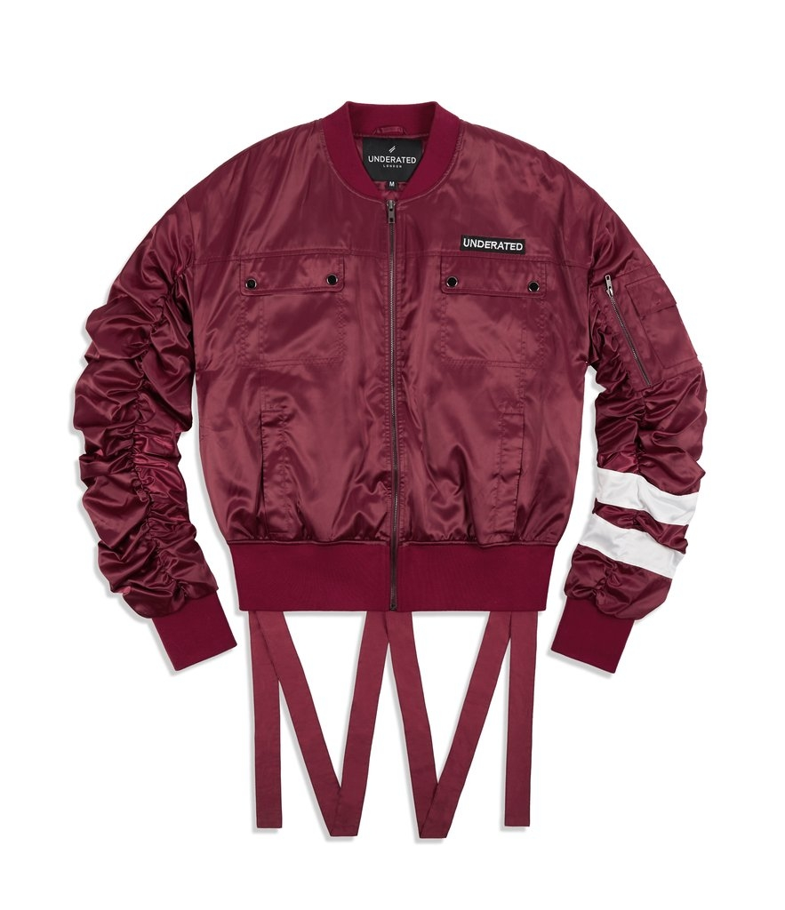 Underated | JK412 Ruffle Sleeve Bomber Jacket - Oxblood