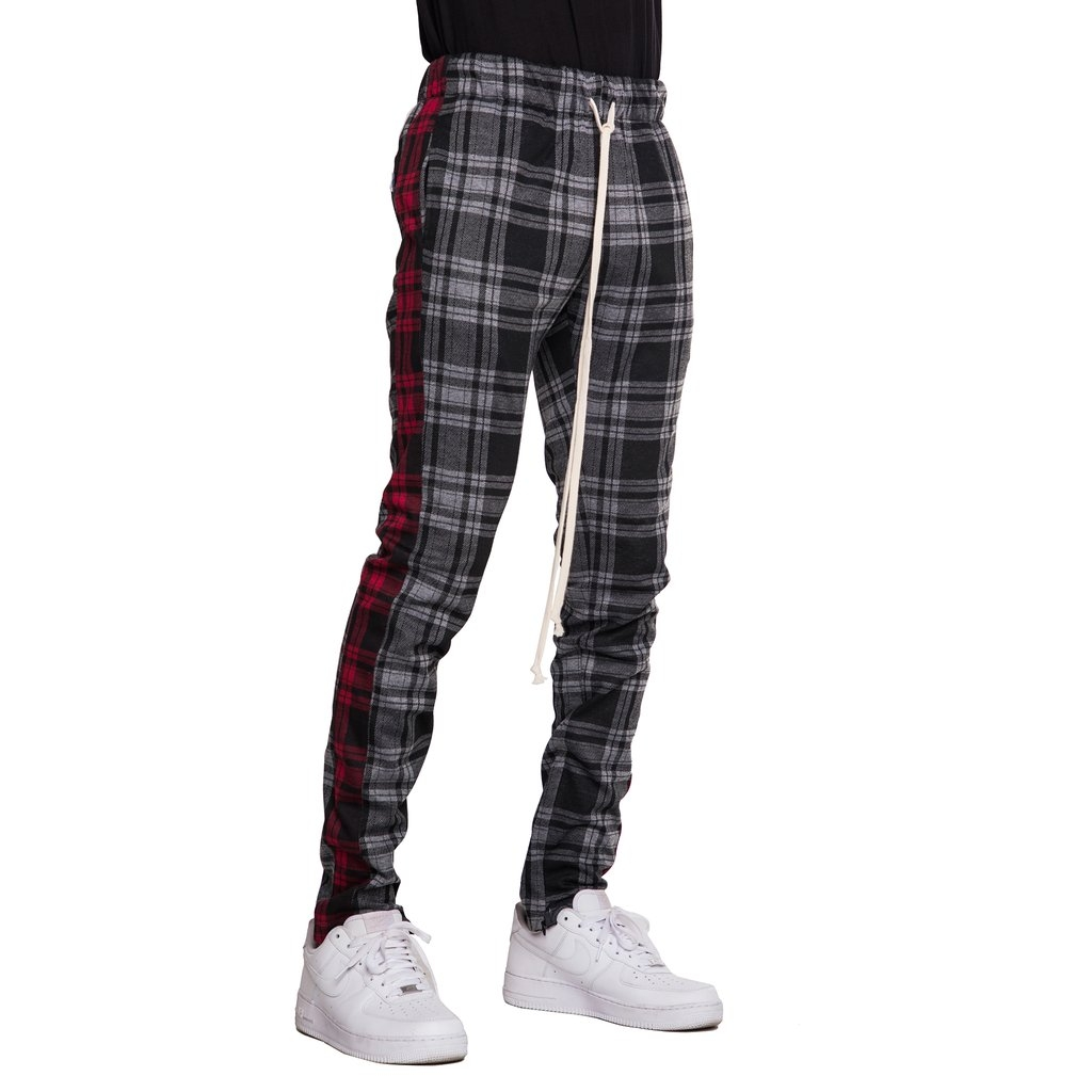 EPTM | Plaid Track Pants / Black Red Plaid